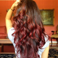 """Ombre Hair Extensions, Medium Brown Ombre Hair and Subtle Paprika Red Fade,(7) Pieces,20"""",Custom your order"""