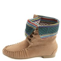 Tribal-Lined Lace-Up Moccasin Boots by Charlotte Russe - Taupe