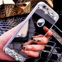 Handmade Silver Makeup Mirror Case Cover for iPhone 7 7Plus & iPhone se 5s 6 6 Plus +Gift Box