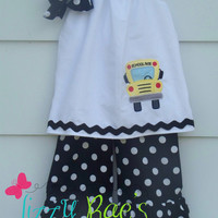 """Back to School Ruffle Pants Outfit- Girls sizes 12M-10- Free 4"""" Boutique Bow"""