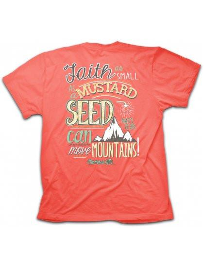 Image of Cherished Girl Faith Mustard Seed Move Mountains Girlie Christian Bright T Shirt