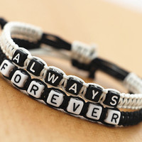 Couples Bracelets Set, Always Forever Bracelets, His and Hers Bracelets, Anniversary Gift, Personalized Birthday Gift, Friendship Gifts