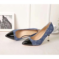 Hot Sale LV Louis Vuitton Popular Women 8cm Classic Pointed High Heels Shoes Sandals Black/Blue I-OMDP-GD