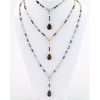 Long Beaded Lariat Necklace
