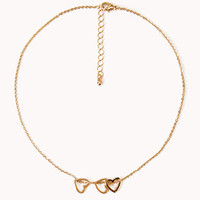 Cutout Hearts Charm Necklace