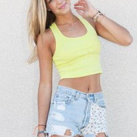 Bright Neon Yellow Tight Crop Top with Racerback