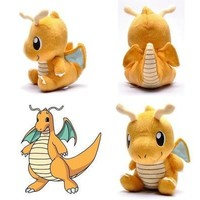"""NEW Pokemon Plush Toy Dragonite 7"""" Cute Collectible Soft Stuffed Animal Doll (Color: Yellow light) [8834057996]"""