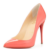 Christian Louboutin Pigalle Follies Patent Point-Toe Red Sole Pump, Orange