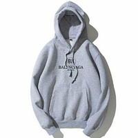Balenciaga Tide brand double B letter print loose plus velvet men and women models hooded hoodies grey