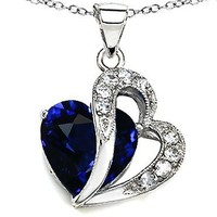 Original Star K(tm) Large 12mm Created Blue Sapphire Double Heart Pendant in Sterling Silver with Chain:Amazon:Jewelry