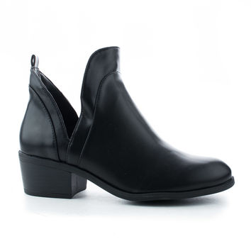 Merry38 Round Toe Side Cut Out Block Heel Ankle Booties
