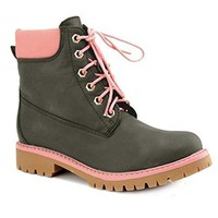Women's Combat Lace Up Padded Cuff Hiking Work Shoes Ankle Boot