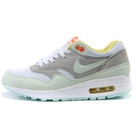 NIKE AIR MAX 1 Anniversary Fashion Leisure Sports Shoes Women Men Contrast Sneakers B-A-QDSK-Buy Micro Grey/Mint green
