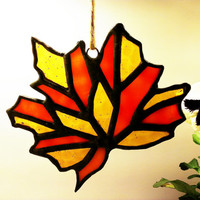 Stained Glass Fall Leaf Autumn Sun Catcher Thanksgiving Ready to Ship