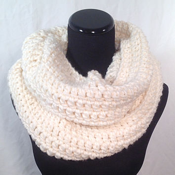 Winter White Infinity Crochet Scarf