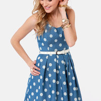 Tied Up in Dots Blue Polka Dot Dress