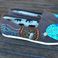 Blue Feather Musical Dream Catcher TOMS by BStreetShoes on Etsy