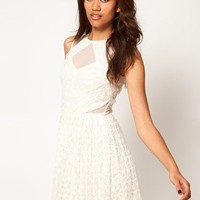 River Island Lace Cut Out Skater Dress at asos.com