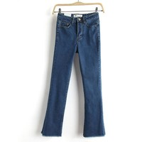 Summer High Waist Slim Stretch Jeans Boot Cut Cropped Pants [8864335815]