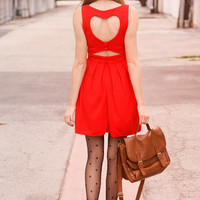 Heart Cut Out Pleated Dress in Red Red XS