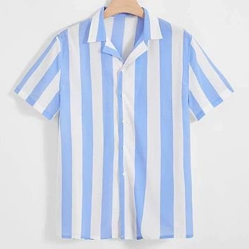 Fashion Men Notch Collar Two Tone Striped Casual Shirt