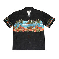 KY's Mens Black Button Down Hawaiian Shirt with Woodies
