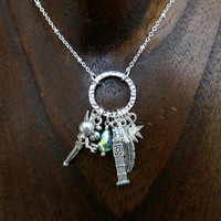 Fairytale Charm Necklace. Simple, elegant, cute! With Love From OC original design Swarovski elements crystals & pearls. Peter Pan Neverland