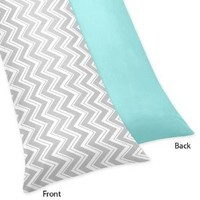 Turquoise and Gray Zig Zag Full Length Double Zippered Body Pillow Case Cover by Sweet Jojo Designs