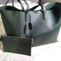 Saint Laurent Large Shopping Tote Bag (YSL) Green with a built-in wallet