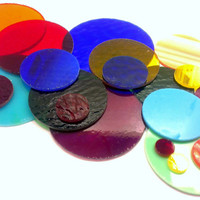 20 Precut Stained Glass Circles Handmade for your Glass Project Free US Shipping