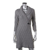 Calvin Klein Womens Petites Cable Knit Ribbed Trim Sweaterdress
