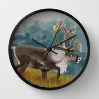 Caribou  Wall Clock by North Star Artwork