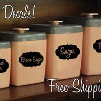JAR / CANISTER Labels - wall vinyl decal sticker cute kitchen organize - set of 9