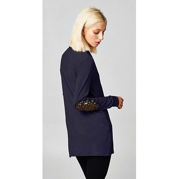 Sequined Cardigan - Navy