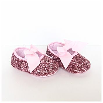 Pink Glitter Baby Shoes, Flower Girl Shoes