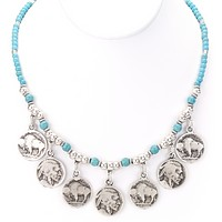 Native American Indian Coin Turquoise Necklace