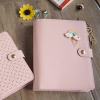 2017 New Arrive 100% Genuine Leather  Pink A5 A6 Notebook Hollow Loose Leaf Planner Match KIKKI Style