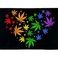 Rainbow Heart Cannabis Flag 3x5 Feet