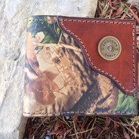 Handcrafted Realtree Camo Leather Bifold Wallet with Shotgun Shell in corner...Initials Free!