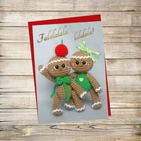 Holiday Printable Greeting Card- Crochet Gingerbread-Cupcake Christmas Card Instant Download