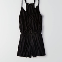 Don't Ask Why Wrap Front Romper, Black