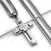 """24"""" MEN's Stainless Steel 6mm Silver Double Cuban Curb Chain Necklace Cross Pendant"""