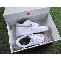 Gucci x NIKE Air Force Fashion Casual Women Men Running Sport Casual Shoes Sneakers White G