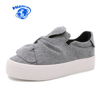 HUANQIU Women Canvas Shoes 2017 New Famous Brand College Students Casual Shoes Bow Butterfly Knot Gray Slip on Leisure Shoes