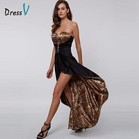 DressV sweetheart A-line long evening dress beaded printing empire asymmetry prom dress formal party dress black evening dress