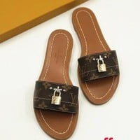 LV Slippers Louis Vuitton Sandals Lock Accessories B-ALS-XZ Coffee