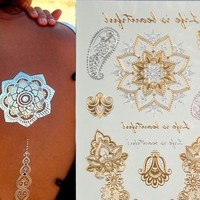 New Design feather Tattoo Gold Temporary Tattoos Sticker Sex Product Metallic tatoos Anchor Leaf Infinity (Size: 1) = 5660895681