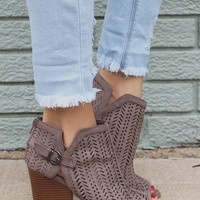 Filigree Ankle Boots in Taupe