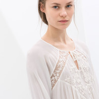BLOUSE WITH EMBROIDERED FRONT