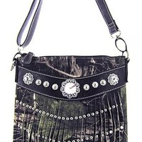 Soft Western Bling Camo Biker Fringe Messenger Bag Cross Body Purse